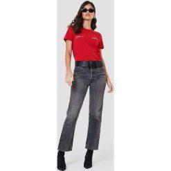 NA-KD T-shirt Self Ish - Red. Czerwone t-shirty damskie marki NA-KD, z nadrukiem, z bawełny. W wyprzedaży za 42,67 zł.