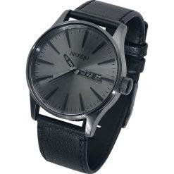 Nixon Sentry Leather - Gunmetal / Black Zegarek na rękę czarny. Czarne zegarki męskie Nixon. Za 649,90 zł.