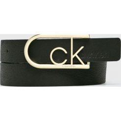 Calvin Klein - Pasek skórzany. Czarne paski damskie marki Calvin Klein, w paski, z materiału. Za 249,90 zł.