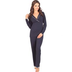 Piżama dla ciężarnych i karmiących Danielle. Szare piżamy damskie Astratex, w kwiaty, z wiskozy, moda ciążowa. Za 170,99 zł.