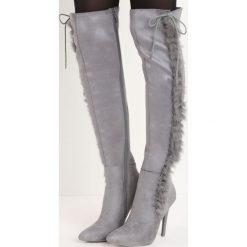 Szare Kozaki Lou. Szare buty zimowe damskie marki Born2be, ze szpiczastym noskiem, na wysokim obcasie. Za 79,99 zł.