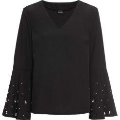 Bluzka z perełkami bonprix czarny. Czarne bluzki z odkrytymi ramionami marki bonprix, z falbankami. Za 89,99 zł.