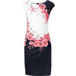Sukienki: Sukienka z marszczeniami bonprix czarno-koralowy z nadrukiem