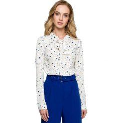Elegancka Wzorzysta Bluzka z Wiązaniem - Model 3. Brązowe bluzki longsleeves Molly.pl, l, w jednolite wzory, z tkaniny, eleganckie, dekolt w kształcie v. Za 105,90 zł.