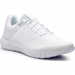 Buty UNDER ARMOUR - Ua Micro G Pursuit 3000011-112 Wht. Białe buty do biegania męskie Under Armour, z materiału. W wyprzedaży za 209,00 zł.