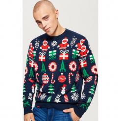 Świąteczny sweter - Granatowy. Niebieskie swetry klasyczne męskie marki Cropp, l. Za 99,99 zł.