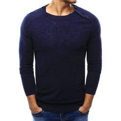 Sweter męski granatowy (wx1003). Niebieskie kardigany męskie Dstreet, m, z bawełny, z okrągłym kołnierzem. Za 69,99 zł.