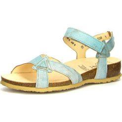 """Rzymianki damskie: Skórzane sandały """"Julia"""" w kolorze turkusowym"""