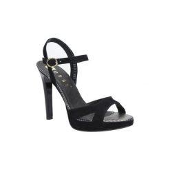 Rzymianki damskie: Sandały Nessi  Czarne sandały szpilki skórzane  18384
