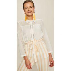 Answear - Koszula Stripes Vibes. Szare koszule damskie ANSWEAR, l, z poliesteru, casualowe, z klasycznym kołnierzykiem, z długim rękawem. W wyprzedaży za 79,90 zł.
