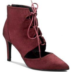 Botki JENNY FAIRY - LS3460A-14 Bordowy. Czerwone buty zimowe damskie Jenny Fairy, z materiału, na obcasie. Za 79,99 zł.