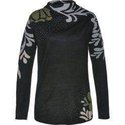 Sweter bonprix czarno-ciemnooliwkowy. Czarne swetry klasyczne damskie bonprix, z żakardem, ze stójką. Za 99,99 zł.