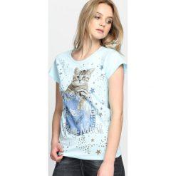 Jasnoniebieski T-shirt Animals. Niebieskie bluzki damskie Born2be, l. Za 14,99 zł.