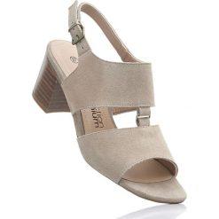 Rzymianki damskie: Sandały skórzane bonprix beżowy