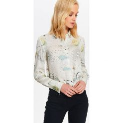 Koszule damskie: KOSZULA ELEGANCKA DAMSKA DRUKOWANA, Z SATYNOWYM POŁYSKIEM