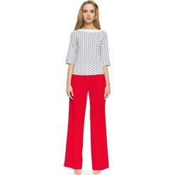 Spodnie z wysokim stanem: Czerwone Szerokie Spodnie z Wysokim Stanem
