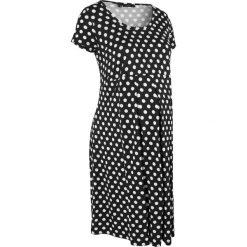 Sukienka ciążowa, krótki rękaw bonprix czarno-biały w groszki. Czarne sukienki ciążowe bonprix, na lato, w grochy, z wiskozy, moda ciążowa, z krótkim rękawem, mini. Za 49,99 zł.