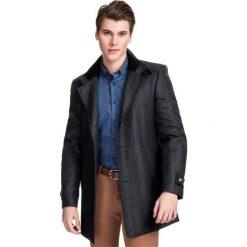 Płaszcz  PIERPAOLO  PSSS000049. Czarne płaszcze na zamek męskie Giacomo Conti, m, jodełka, z wełny, klasyczne. Za 799,00 zł.