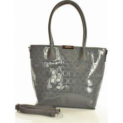 NOBO Logowana torebka shopper bag szary. Brązowe shopper bag damskie marki Nobo, w paski, ze skóry ekologicznej. Za 159,00 zł.