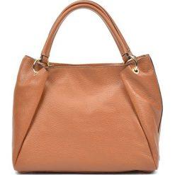 Torebki klasyczne damskie: Skórzana torebka w kolorze jasnobrązowym – (S)22 x (W)33 x (G)11 cm