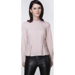 Bluzki asymetryczne: Różowa Elegancka Bluzka z Długim Rękawem z Baskinką