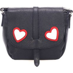 Skórzana torebka w kolorze czarnym - 35 x 30 x 10 cm. Czarne torebki klasyczne damskie Black Bags, z aplikacjami, ze skóry. W wyprzedaży za 260,95 zł.