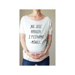 Biały ciążowy oversize tshirt arbuz. Białe bluzki ciążowe One mug a day, s, z nadrukiem, z bawełny. Za 89,00 zł.