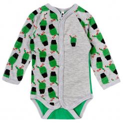 Garnamama Body Dziecięce Z Kwitnącymi Kaktusami 74 Zielone. Zielone body niemowlęce marki Garnamama, z nadrukiem, z długim rękawem. Za 33,00 zł.