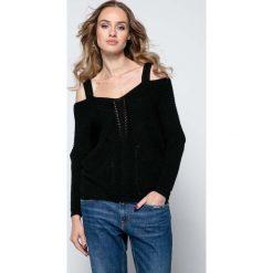 Swetry damskie: Czarny Lekki Nietoperzowy Sweter ze Zmysłowym Dekoltem