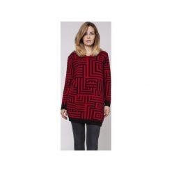 Długi sweter, SWE161 czarny/czerwony MKM. Czerwone swetry klasyczne damskie Mkm swetry, l, z dzianiny. Za 148,00 zł.
