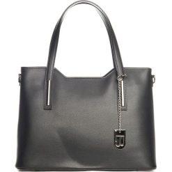 Shopper bag damskie: Skórzany shopper bag w kolorze czarnym – 45 x 37 x 16 cm