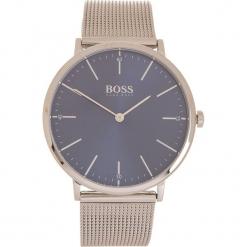 Zegarek kwarcowy w kolorze srebrno-granatowym. Czarne, analogowe zegarki męskie marki HUGO BOSS, ze stali. W wyprzedaży za 608,95 zł.