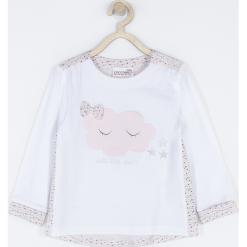 Koszulka. Białe bluzki dziewczęce bawełniane STAR, z aplikacjami, z długim rękawem. Za 42,90 zł.