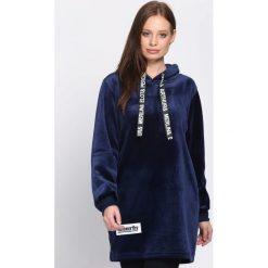 Ciemnoniebieska Bluza Fluorescent. Szare bluzy z kapturem damskie Born2be, l, z długim rękawem, długie. Za 74,99 zł.