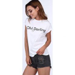 T-shirt z napisem i sercem biały 22605. Białe t-shirty damskie marki Fasardi, l. Za 29,00 zł.