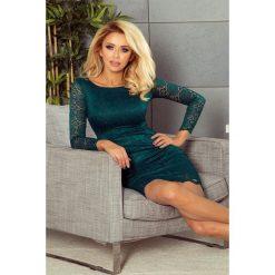 Skyler Sukienka koronkowa z ozdobnymi wykończeniami - ZIELEŃ BUTELKOWA. Różowe sukienki koronkowe marki numoco, l, z długim rękawem, maxi, oversize. Za 169,99 zł.