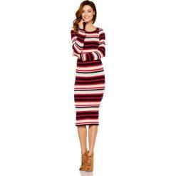 Kobieca ołówkowa sweterkowa sukienka granatowy-czerowny-beżowy. Brązowe długie sukienki Lemoniade, na jesień, ze splotem, klasyczne, z klasycznym kołnierzykiem, z długim rękawem, ołówkowe. Za 149,90 zł.