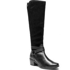 Kozaki CAPRICE - 9-25608-21 Black Comb 019. Czarne buty zimowe damskie Caprice, z materiału, na obcasie. W wyprzedaży za 399,00 zł.