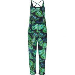 Kombinezony damskie: Kombinezon plażowy z długimi nogawkami bonprix czarno-zielony
