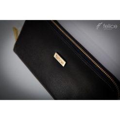 PORTFEL Z EFEKTEM SAFFIANO CZARNY. Czarne portfele damskie Felice, z materiału. Za 69,90 zł.