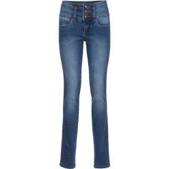 """Dżinsy ze stretchem """"Szczuplejsze brzuch, uda i pośladki"""" SLIM bonprix niebieski. Niebieskie jeansy damskie marki bonprix, z nadrukiem. Za 179,99 zł."""