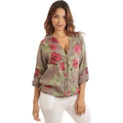 Bluzki damskie: Lniana bluzka w kolorze szarobrązowo-czerwono-zielonym