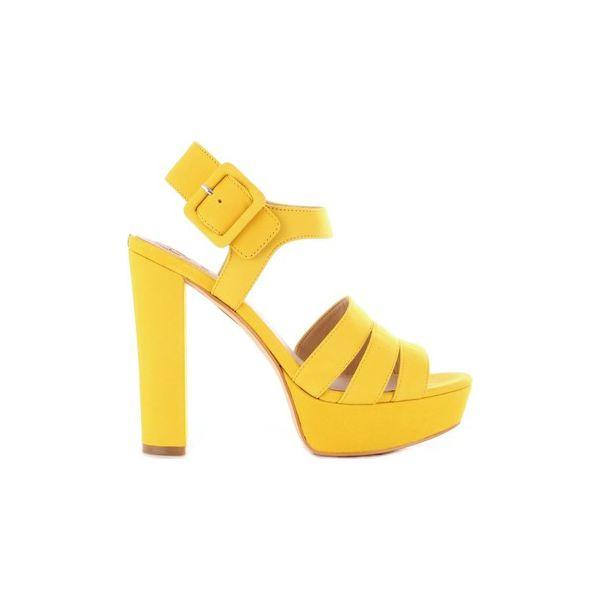 1acd52bfca580 Sandały Guess FL6LYLSUE03 - Żółte sandały damskie Guess, z aplikacjami, bez  obcasa, bez zapięcia. Za 716,71 zł. - Sandały damskie - Buty damskie - Buty  ...