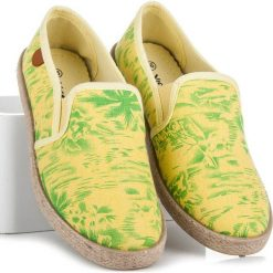 Espadryle damskie: Espadryle hawaii CARESSA odcienie żółtego i złota