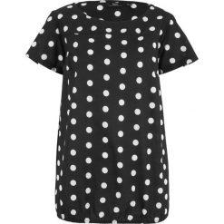 Bluzki damskie: Bluzka z gumką bonprix czarno-biały w kropki