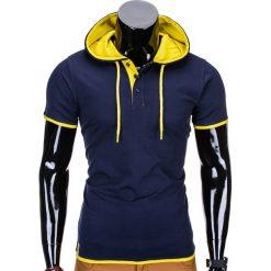 T-SHIRT MĘSKI Z KAPTUREM BEZ NADRUKU S680 - GRANATOWY. Niebieskie t-shirty męskie z nadrukiem Ombre Clothing, m, z kapturem. Za 29,00 zł.
