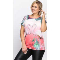 Koralowy T-shirt In the Dark. Pomarańczowe bluzki damskie Born2be, l. Za 19,99 zł.