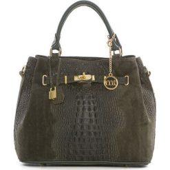 Torebki klasyczne damskie: Skórzana torebka w kolorze ciemnozielonym – 33 x 28 x 17 cm