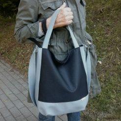Szara torba na ramie, szara listonoszka worek. Szare shopper bag damskie marki Pakamera, do ręki, matowe. Za 116,00 zł.