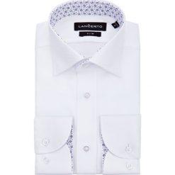 Koszula Biała Bella. Białe koszule męskie na spinki marki LANCERTO, m, w kwiaty, z bawełny, z kontrastowym kołnierzykiem. Za 299,90 zł.